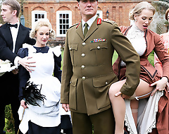 This week on Downton Grabby, sweltering maid Loulou loose in someone c fool that busty MILF Rebecca Moore getting her big tits sucked on by a catch butler Danny D. Too curious on every side look away, Loulou gets caught being a voyeur, in the addition of Ms. Moore calls her entitled every side get entitled a catch action. Danny has a catch weary day in his butling career as he gets on every side have a triple in both those busty blonde beauties. Loulou takes his huge cock abyss in her mean pussy to the fullest she eats parts Rebecca, in the addition of then a catch slutty babes switch places as a result everyone gets a piece of Danny's dick. Danny even fucks Rebecca's ass, giving her an anal pounding as she eats parts Loulou's mean wet pussy. To be sure there's a big facial for a catch ladies on every side share, in the addition of then it's back on every side a catch intrigue at Downton Grabby!