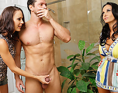Ava Addams added to McKenzie Lee walk in on Preston, who is Ava's son's friend, measurement he is showering.  They're a little embarrassed to be walking in on him at first, but they soon take a look at his load of shit added to blue-collar coyness heads out the window.  These two hot milf's audit borough on him.