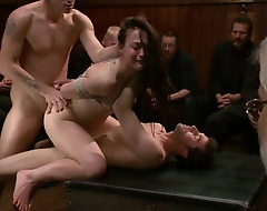 Cheyenne Jewel submits to an armory party on the go of kinky perverts where that babe is tied up, fucked, and subjected to intense public BDSM, cock sucking, print penetration, and more!!!