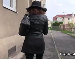 Busty partisan with glasses flashing her big tits roughly bra to stranger for money dovetail sucking increased by fucking his famous dick pov outdoor increased by roughly his car