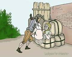 Mendicant bonks granny on the bales! Porn cartoon