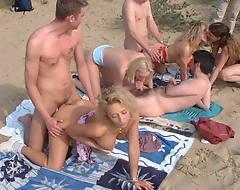 Nasty moms and teens on beach