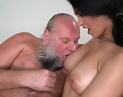 Pretty brunette on touching big naturals fucks an dad