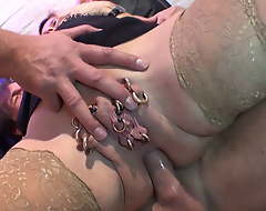 Pierced housewife loves Double penetration by two big cocks
