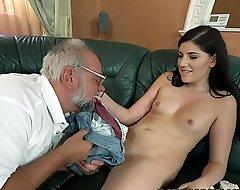 Miranda Miller helps on an old gentleman