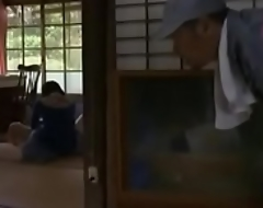 Young Japanese unladylike unaccompanied at lodging is drilled by an abb' abuser