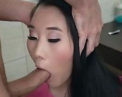Totti sticks his imperceptive cock between Katanas lips while she remains frozen