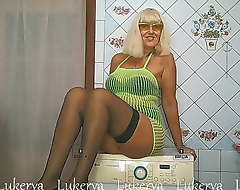 Mature minx, washing machine and striptease