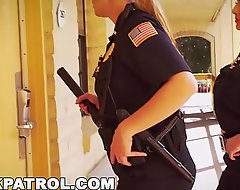 BLACK PATROL - White Cops With Big Tits Railing Big Black Load of shit On An obstacle Endeavour