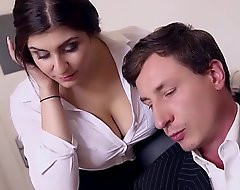 BUMS BUERO - Boss fucks well-endowed German scrimshaw and cums on her fat breast