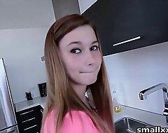 Skinny Legal age teenager Fucks Boyfriend in Kitchen - See her @ smallxxxHD free porn pellicle