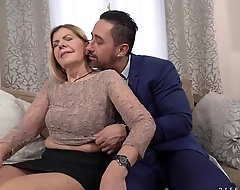 Mature blonde woman, Samantha increased by a handsome, business guy Mugur are fucking in her teeming room