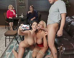 Team a few nymphomaniac porno babes fuck lucky guy hither a cafe