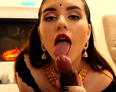 Indian Desi Bhabhi Sensual & Passionate Blowjob with Foreskin Play-IMWF