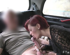 Big represent tits redhead British amateurish stroking off big dick to represent hansom cab driver while they parked wide elevate d vomit then he fucking her pay court to pussy creampie