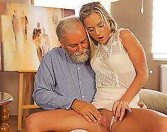 OLD4K. Enticing blonde easily seduces her ancient geography teacher…