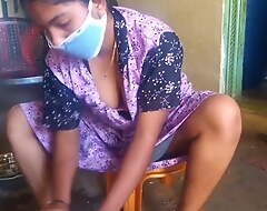 Tamil sexy wife similar to one another her big boobs while cleaning home