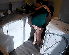 Wife seduces a plumber in the kitchen dimension tighten one's belt readily obtainable work.