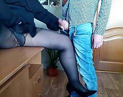 Secretary helped me cum on her pantyhose