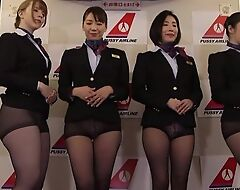 Group of Asian stewardesses getting drilled good and good enough