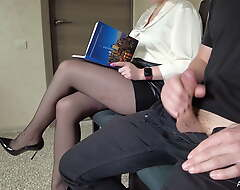 I pull widely my cock move forward the secretary in hose
